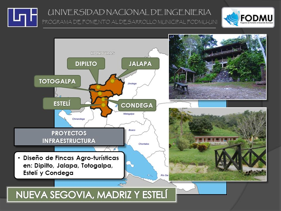 UNIVERSIDAD NACIONAL DE INGENIERIA PROGRAMA DE FOMENTO AL DESARROLLO MUNICIPAL FODMU-UNI PROYECTOSINFRAESTRUCTURAPROYECTOSINFRAESTRUCTURA Diseño de Fi