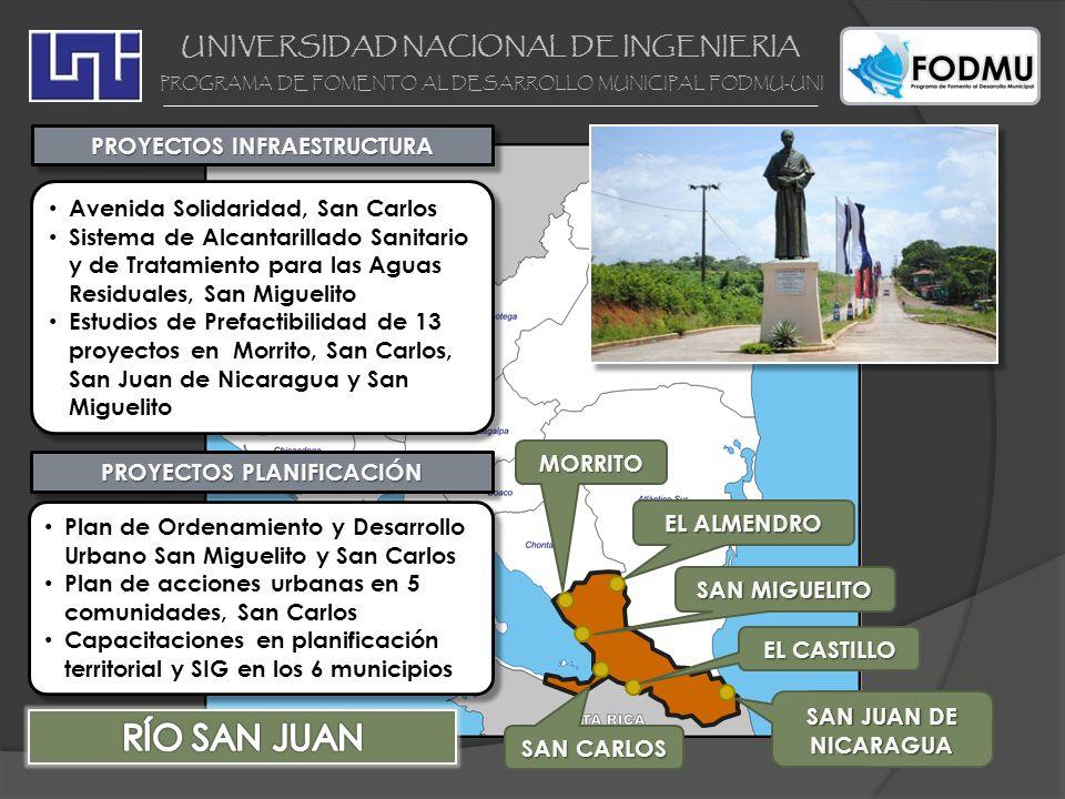UNIVERSIDAD NACIONAL DE INGENIERIA PROGRAMA DE FOMENTO AL DESARROLLO MUNICIPAL FODMU-UNI PROYECTOS INFRAESTRUCTURA Avenida Solidaridad, San Carlos Sis