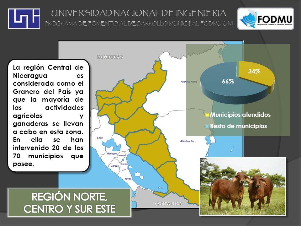UNIVERSIDAD NACIONAL DE INGENIERIA PROGRAMA DE FOMENTO AL DESARROLLO MUNICIPAL FODMU-UNI La región Central de Nicaragua es considerada como el Granero