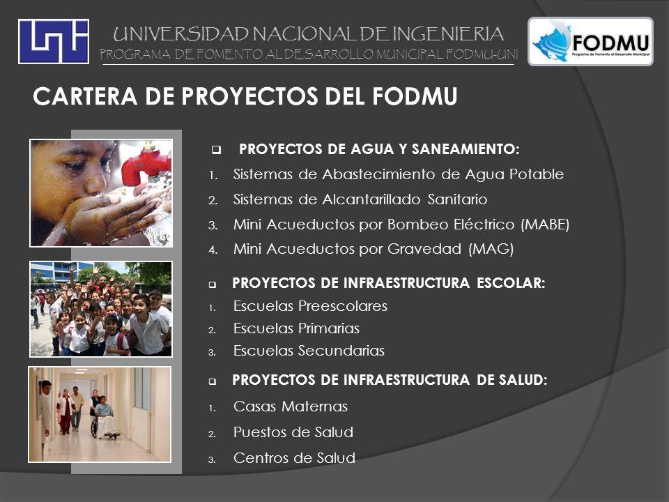 UNIVERSIDAD NACIONAL DE INGENIERIA PROGRAMA DE FOMENTO AL DESARROLLO MUNICIPAL FODMU-UNI CARTERA DE PROYECTOS DEL FODMU PROYECTOS DE AGUA Y SANEAMIENT