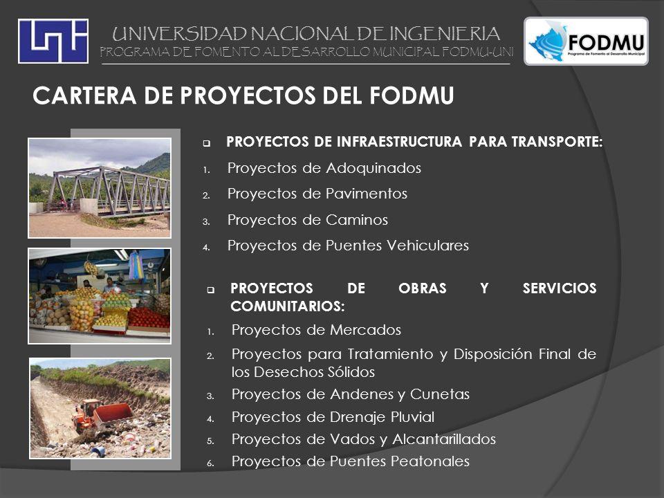 PROYECTOS DE INFRAESTRUCTURA PARA TRANSPORTE: 1. Proyectos de Adoquinados 2. Proyectos de Pavimentos 3. Proyectos de Caminos 4. Proyectos de Puentes V