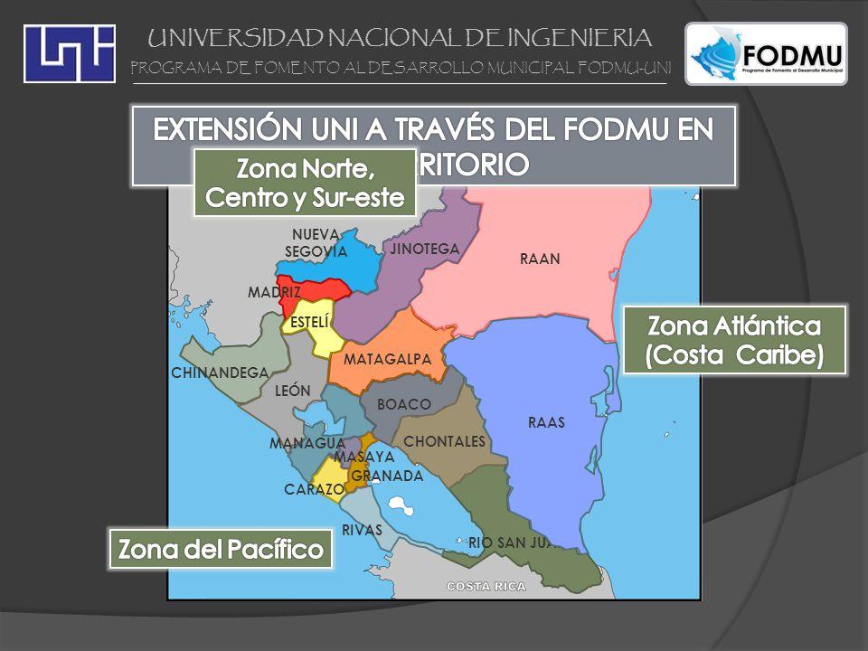UNIVERSIDAD NACIONAL DE INGENIERIA PROGRAMA DE FOMENTO AL DESARROLLO MUNICIPAL FODMU-UNI PROYECTOS PLANIFICACIÓN PUERTO CABEZAS Estudio de Desarrollo Territorial Puerto Cabezas Plan de Ordenamiento Ambiental de y Plan de Ordenamiento Turístico de Corn Island Estudio de Desarrollo Territorial Puerto Cabezas Plan de Ordenamiento Ambiental de y Plan de Ordenamiento Turístico de Corn Island PROYECTOS INFRAESTRUCTURA Plan Maestro de mejoramiento de las instalaciones de URACCAN Diseño de Malecón de Bluefields Diseño del Estadio Municipal en Laguna de Perlas EIA de construcción de camino Rama – Kukra Hill Diagnóstico Mercado Municipal de Waspam Plan Maestro de mejoramiento de las instalaciones de URACCAN Diseño de Malecón de Bluefields Diseño del Estadio Municipal en Laguna de Perlas EIA de construcción de camino Rama – Kukra Hill Diagnóstico Mercado Municipal de Waspam CORN ISLAND BLUEFIELDS NUEVA GUINEA BONANZA SIUNA WASLALA ROSITA BILWI LAGUNA DE PERLAS KUKRA HILL WASPAM