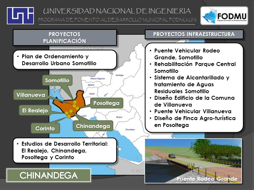 UNIVERSIDAD NACIONAL DE INGENIERIA PROGRAMA DE FOMENTO AL DESARROLLO MUNICIPAL FODMU-UNI PROYECTOS INFRAESTRUCTURA Sistema de Drenaje Pluvial Nagarote Diseño Edificio de la Comuna Nagarote Sistema de Drenaje Pluvial Nagarote Diseño Edificio de la Comuna Nagarote PROYECTOS PLANIFICACIÓN LEÓN LARREYNAGA NAGAROTE Sistemas de Información Urbana: León Estudio de Desarrollo Territorial y Urbano: Larreynaga y La Paz Centro Sistemas de Información Urbana: León Estudio de Desarrollo Territorial y Urbano: Larreynaga y La Paz Centro LA PAZ CENTRO