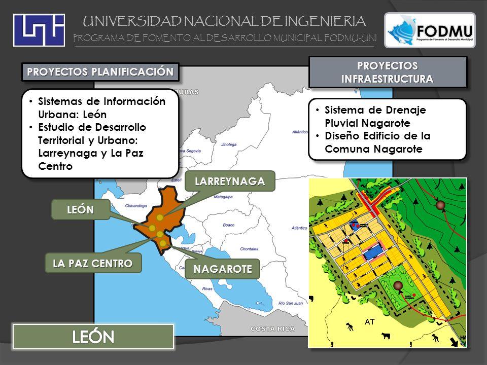 UNIVERSIDAD NACIONAL DE INGENIERIA PROGRAMA DE FOMENTO AL DESARROLLO MUNICIPAL FODMU-UNI PROYECTOS INFRAESTRUCTURA Sistema de Drenaje Pluvial Tipitapa PROYECTOSPLANIFICACIÓNPROYECTOSPLANIFICACIÓN SAN RAFAEL DEL SUR Sistemas de Información Urbana Managua Mejoramiento de 18 barrios en la zona costera del lago de Managua Estudio de Desarrollo Territorial: Tipitapa, Ticuantepe, Mateares Estudio de Desarrollo Urbano: San Rafael del Sur, Ciudad Sandino Sistemas de Información Urbana Managua Mejoramiento de 18 barrios en la zona costera del lago de Managua Estudio de Desarrollo Territorial: Tipitapa, Ticuantepe, Mateares Estudio de Desarrollo Urbano: San Rafael del Sur, Ciudad Sandino TICUANTEPE MANAGUA TIPITAPA CIUDAD SANDINO MATEARE
