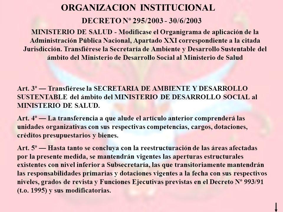 MINISTERIO DE SALUD - Modifícase el Organigrama de aplicación de la Administración Pública Nacional, Apartado XXI correspondiente a la citada Jurisdic