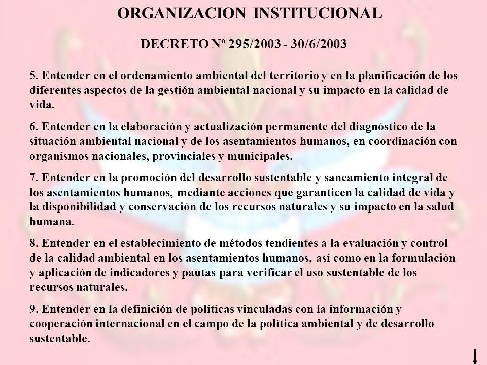 ORGANIZACION INSTITUCIONAL DECRETO Nº 295/2003 - 30/6/2003 5. Entender en el ordenamiento ambiental del territorio y en la planificación de los difere