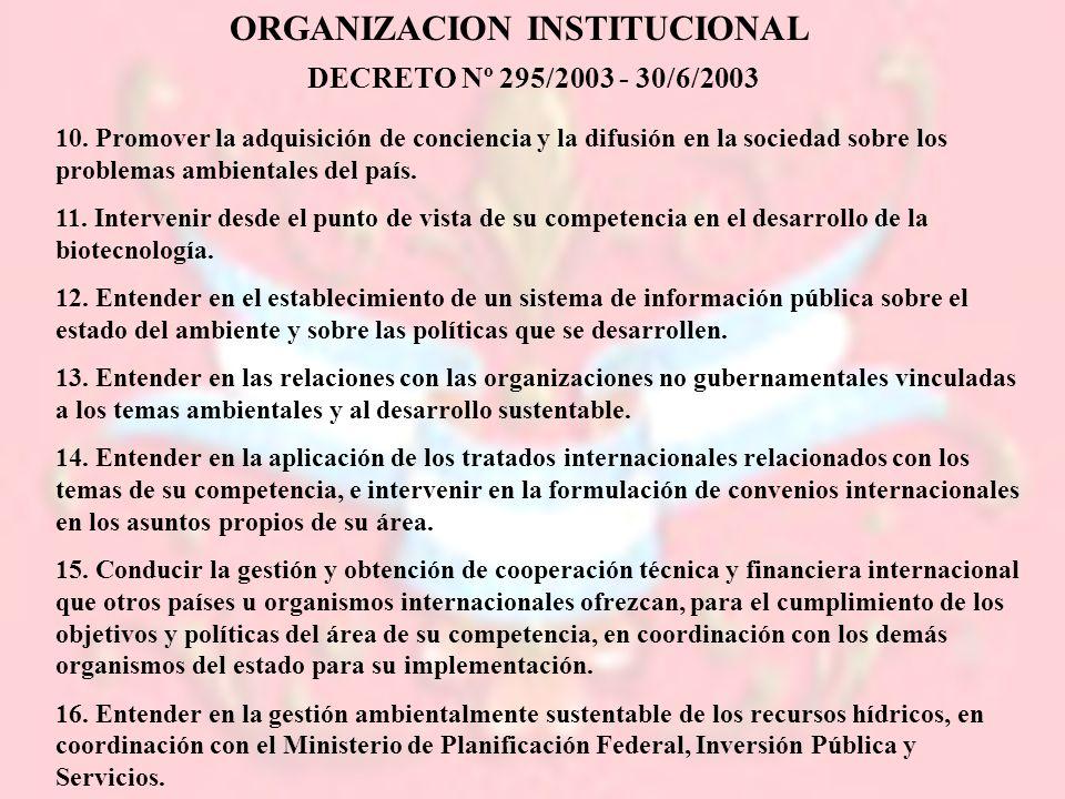 ORGANIZACION INSTITUCIONAL DECRETO Nº 295/2003 - 30/6/2003 10. Promover la adquisición de conciencia y la difusión en la sociedad sobre los problemas