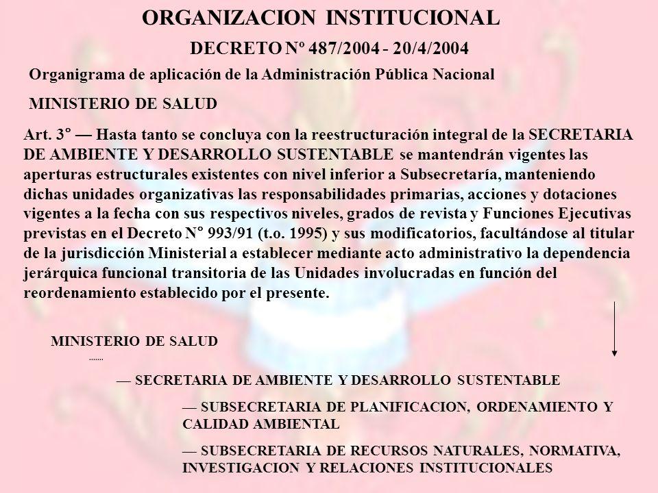 ORGANIZACION INSTITUCIONAL DECRETO Nº 487/2004 - 20/4/2004 Organigrama de aplicación de la Administración Pública Nacional MINISTERIO DE SALUD Art. 3°