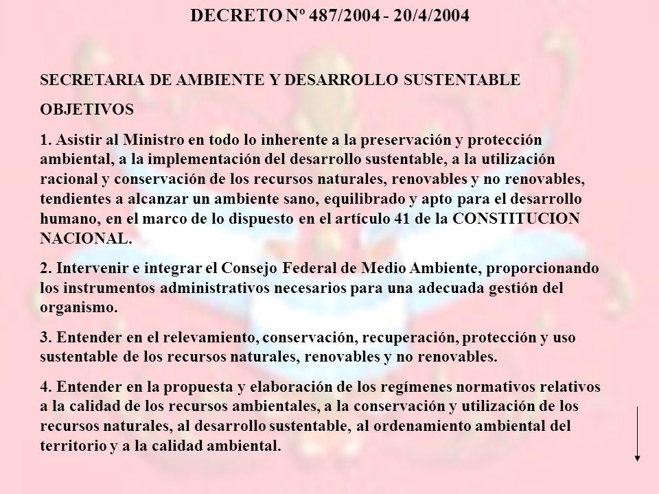 SECRETARIA DE AMBIENTE Y DESARROLLO SUSTENTABLE OBJETIVOS 1. Asistir al Ministro en todo lo inherente a la preservación y protección ambiental, a la i