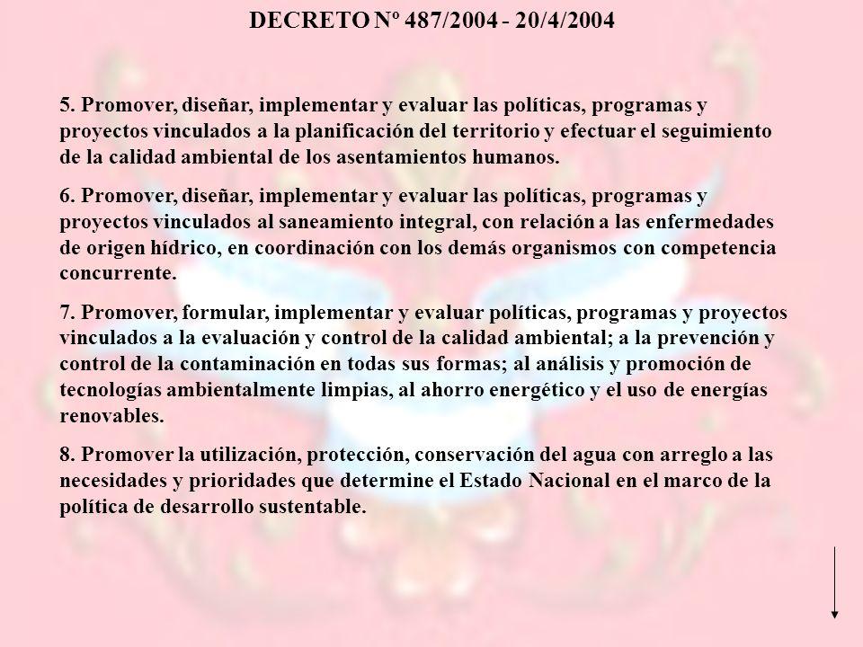 DECRETO Nº 487/2004 - 20/4/2004 5. Promover, diseñar, implementar y evaluar las políticas, programas y proyectos vinculados a la planificación del ter