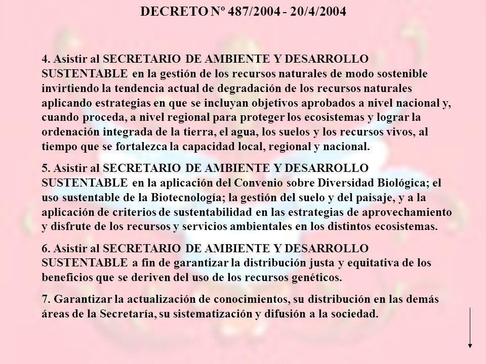 DECRETO Nº 487/2004 - 20/4/2004 4. Asistir al SECRETARIO DE AMBIENTE Y DESARROLLO SUSTENTABLE en la gestión de los recursos naturales de modo sostenib