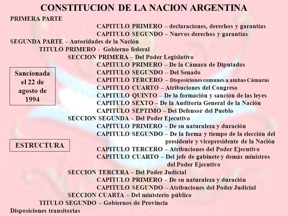 CONSTITUCION DE LA NACION ARGENTINA PRIMERA PARTE CAPITULO PRIMERO – declaraciones, derechos y garantías CAPITULO SEGUNDO – Nuevos derechos y garantía