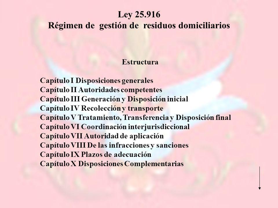 Ley 25.916 Régimen de gestión de residuos domiciliarios Estructura Capítulo I Disposiciones generales Capítulo II Autoridades competentes Capítulo III
