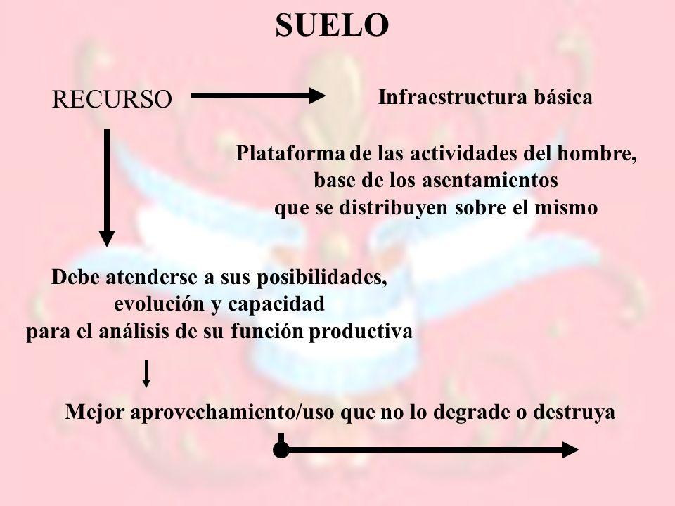 SUELO RECURSO Infraestructura básica Plataforma de las actividades del hombre, base de los asentamientos que se distribuyen sobre el mismo Debe atende