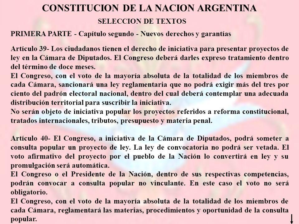 PRIMERA PARTE - Capítulo segundo - Nuevos derechos y garantías CONSTITUCION DE LA NACION ARGENTINA SELECCION DE TEXTOS Artículo 39- Los ciudadanos tie