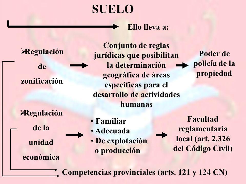 SUELO Ello lleva a: Regulación de zonificación Conjunto de reglas jurídicas que posibilitan la determinación geográfica de áreas específicas para el d