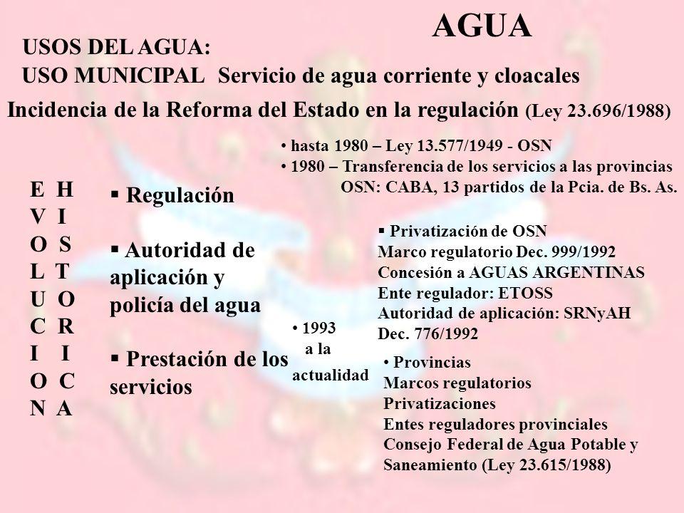 1993 a la actualidad AGUA USOS DEL AGUA: USO MUNICIPALServicio de agua corriente y cloacales Incidencia de la Reforma del Estado en la regulación (Ley