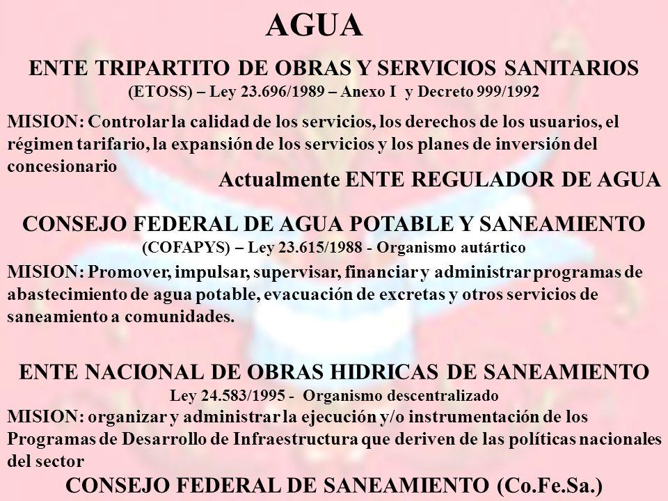 AGUA ENTE TRIPARTITO DE OBRAS Y SERVICIOS SANITARIOS (ETOSS) – Ley 23.696/1989 – Anexo I y Decreto 999/1992 MISION: Controlar la calidad de los servic