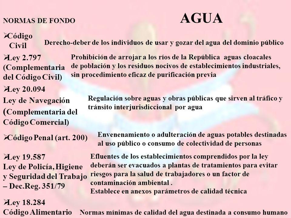 NORMAS DE FONDO Código Civil Derecho-deber de los individuos de usar y gozar del agua del dominio público Ley 2.797 (Complementaria del Código Civil)