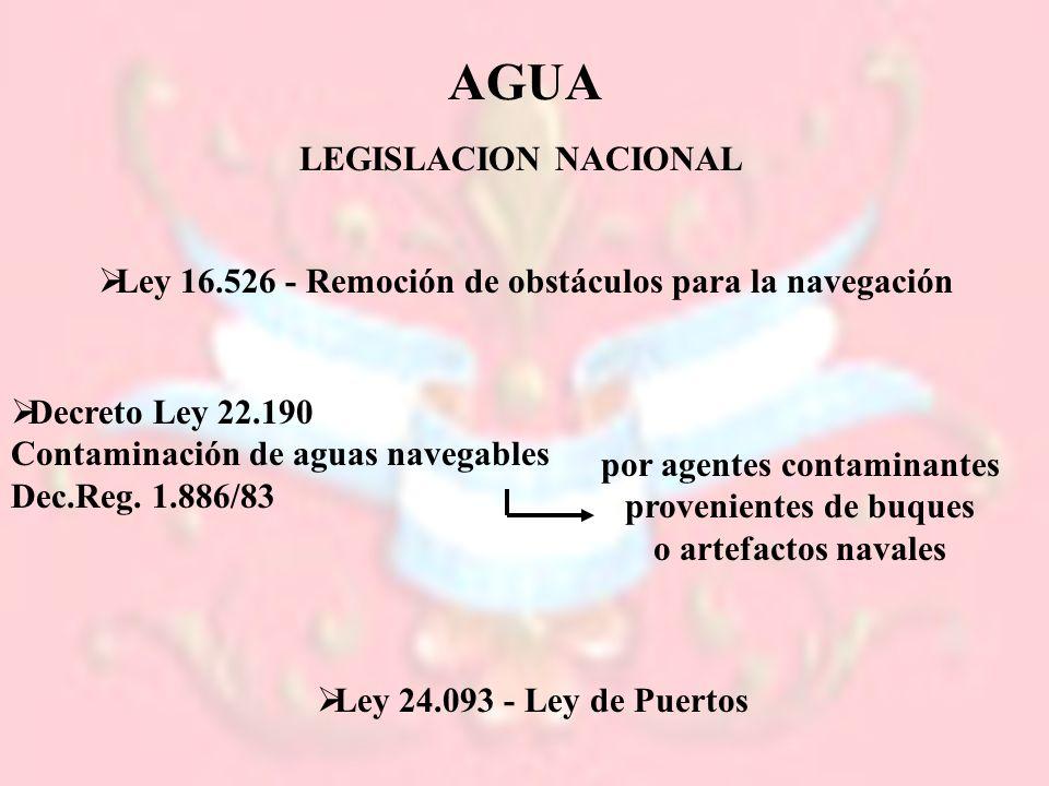 LEGISLACION NACIONAL Ley 16.526 - Remoción de obstáculos para la navegación Decreto Ley 22.190 Contaminación de aguas navegables Dec.Reg. 1.886/83 por