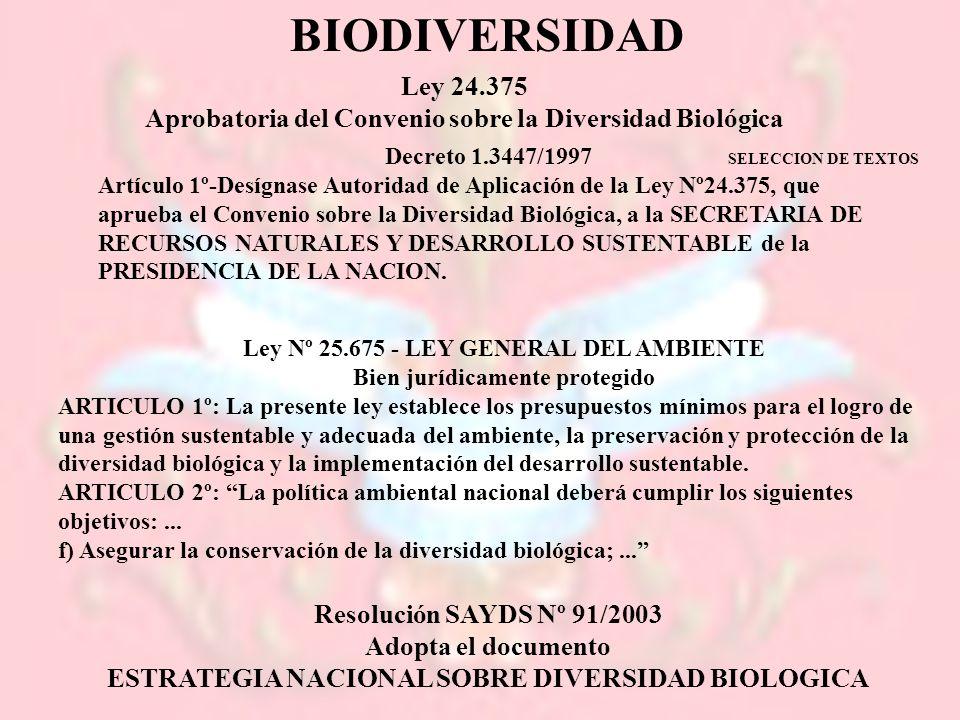 Ley 24.375 Aprobatoria del Convenio sobre la Diversidad Biológica Decreto 1.3447/1997 Artículo 1º-Desígnase Autoridad de Aplicación de la Ley Nº24.375