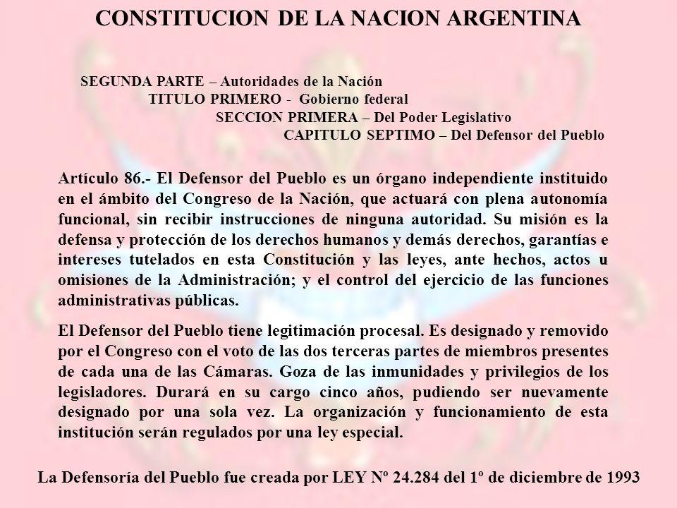 CONSTITUCION DE LA NACION ARGENTINA SEGUNDA PARTE – Autoridades de la Nación TITULO PRIMERO - Gobierno federal SECCION PRIMERA – Del Poder Legislativo