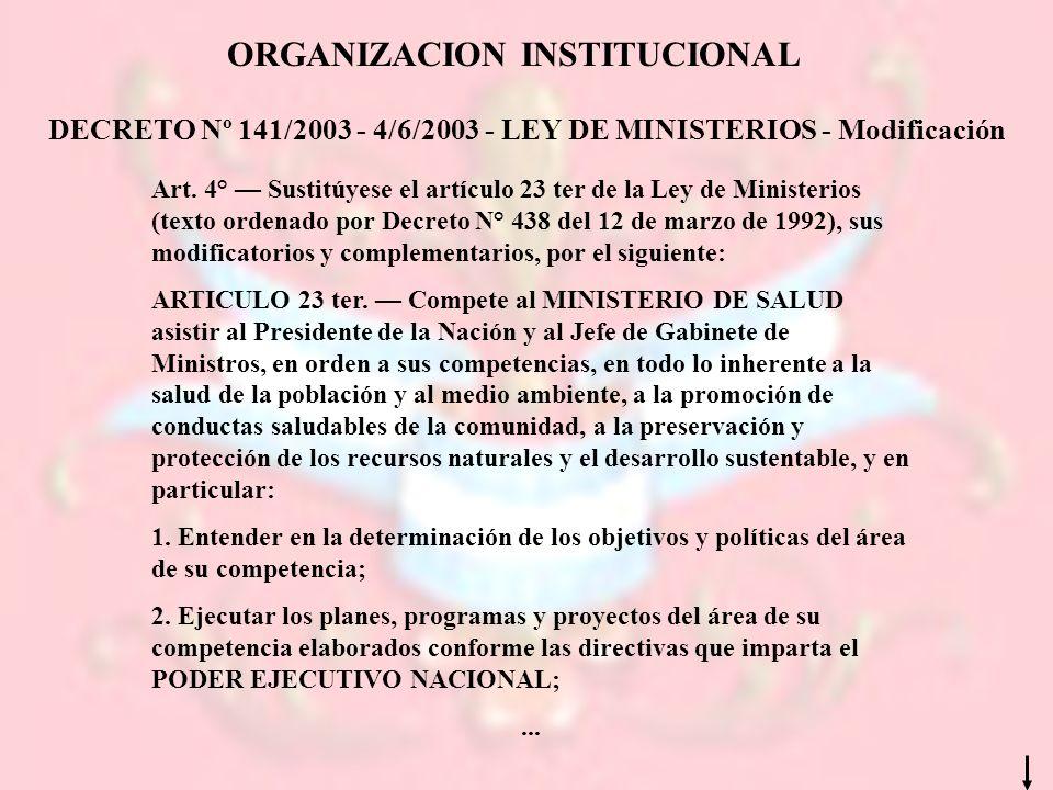 DECRETO Nº 141/2003 - 4/6/2003 - LEY DE MINISTERIOS - Modificación ORGANIZACION INSTITUCIONAL Art. 4° Sustitúyese el artículo 23 ter de la Ley de Mini