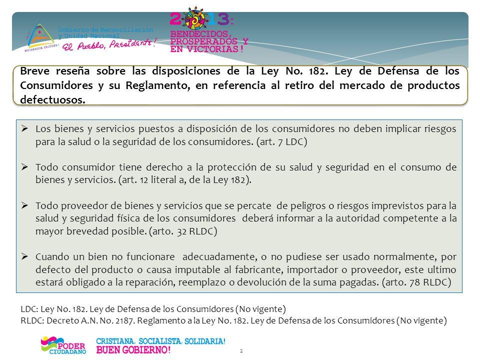 Seminario Internacional sobre Prácticas en Retiros de Mercado de Productos Inseguros: juguetes y artículos para niños. NICARAGUA MINISTERIO DE FOMENTO