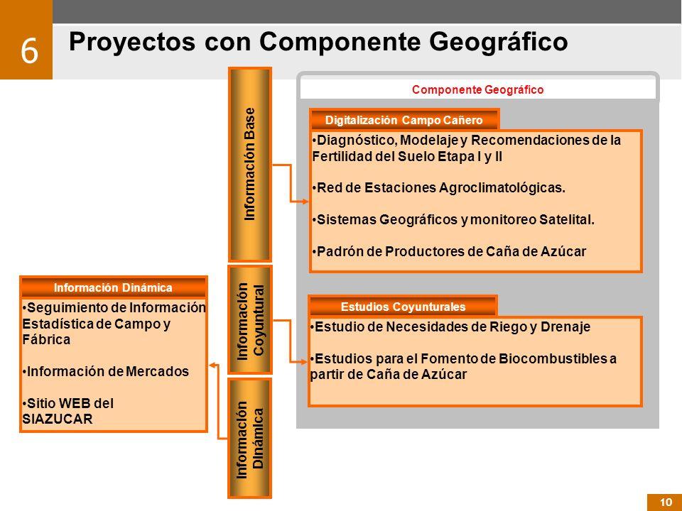 Componente Geográfico Información Base Información Dinámica Información Coyuntural Diagnóstico, Modelaje y Recomendaciones de la Fertilidad del Suelo