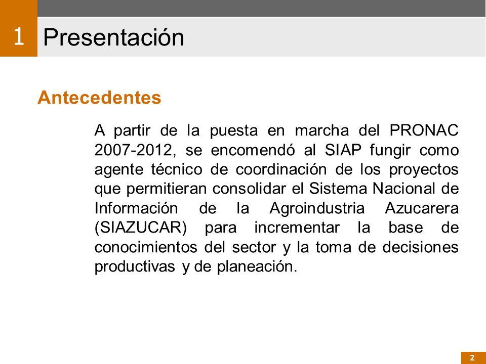 A partir de la puesta en marcha del PRONAC 2007-2012, se encomendó al SIAP fungir como agente técnico de coordinación de los proyectos que permitieran