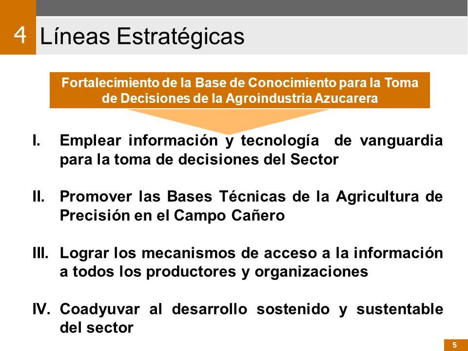 I.Emplear información y tecnología de vanguardia para la toma de decisiones del Sector II.Promover las Bases Técnicas de la Agricultura de Precisión e