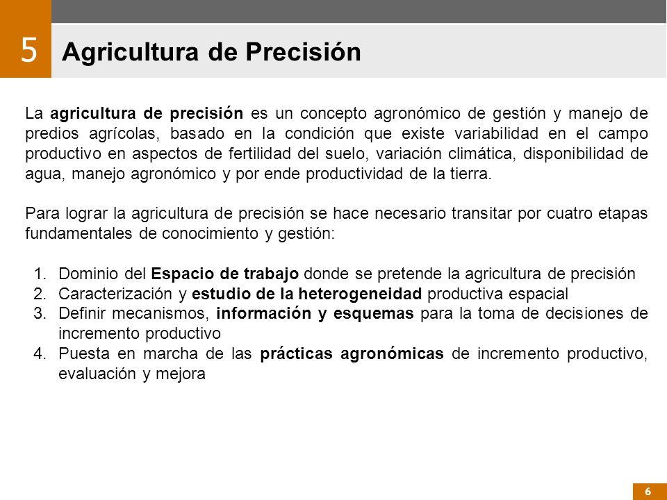 Agricultura de Precisión La agricultura de precisión es un concepto agronómico de gestión y manejo de predios agrícolas, basado en la condición que ex