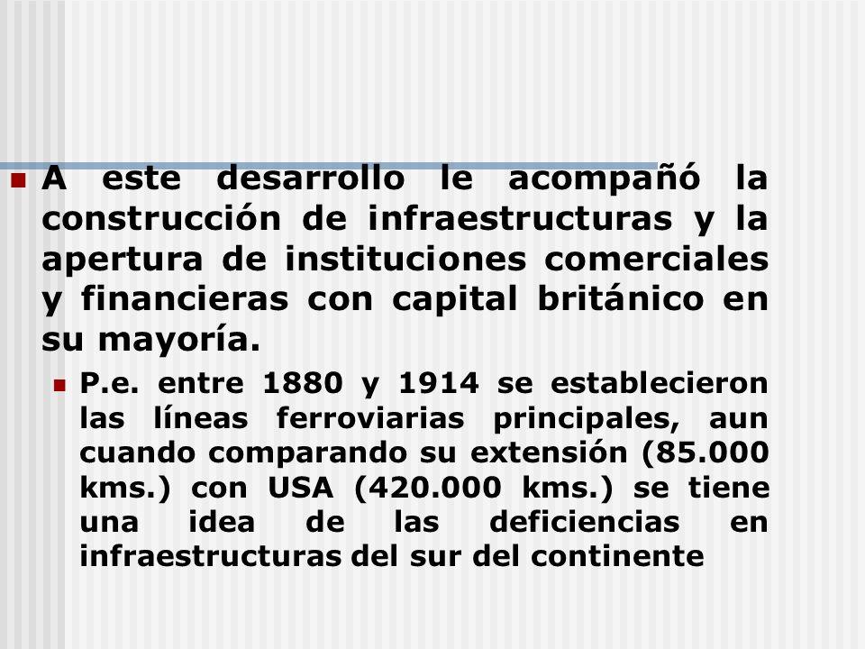A este desarrollo le acompañó la construcción de infraestructuras y la apertura de instituciones comerciales y financieras con capital británico en su