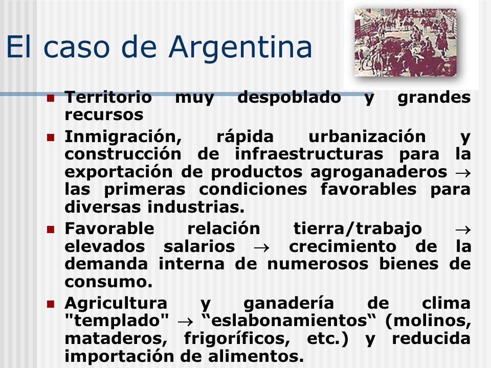 El caso de Argentina Territorio muy despoblado y grandes recursos Inmigración, rápida urbanización y construcción de infraestructuras para la exportac