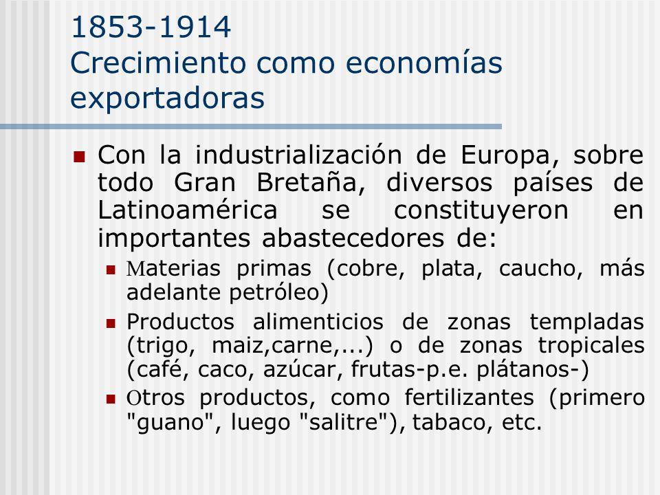 1853-1914 Crecimiento como economías exportadoras Con la industrialización de Europa, sobre todo Gran Bretaña, diversos países de Latinoamérica se con
