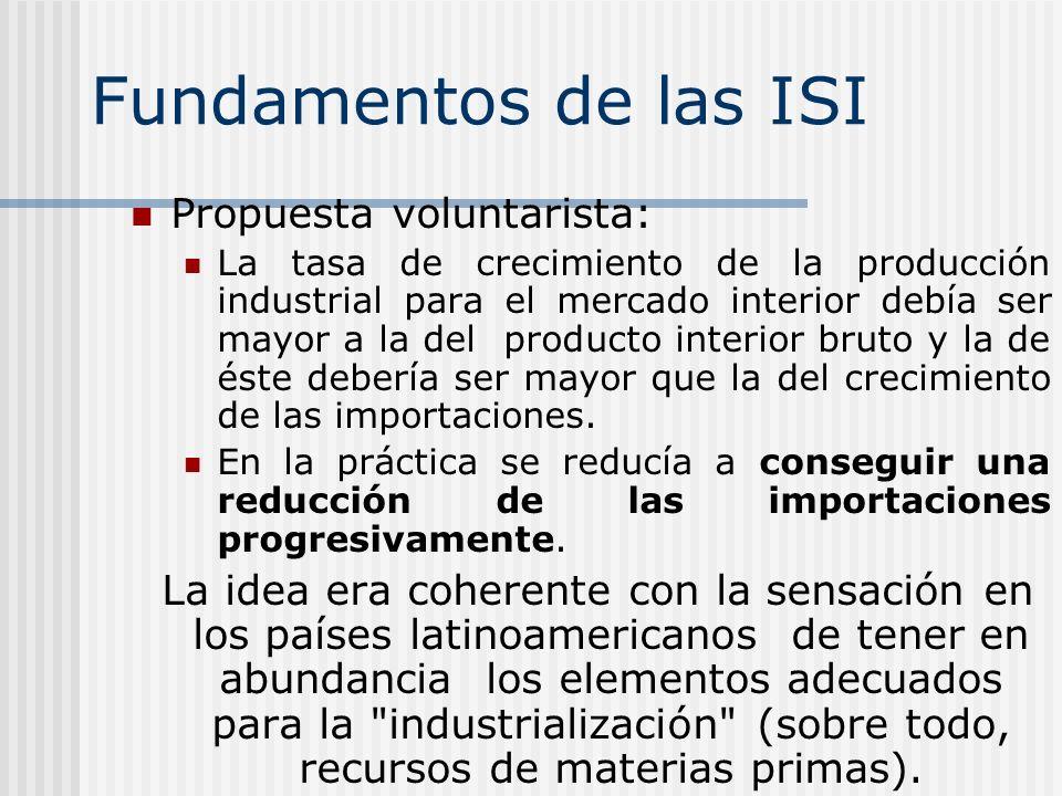 Fundamentos de las ISI Propuesta voluntarista: La tasa de crecimiento de la producción industrial para el mercado interior debía ser mayor a la del pr