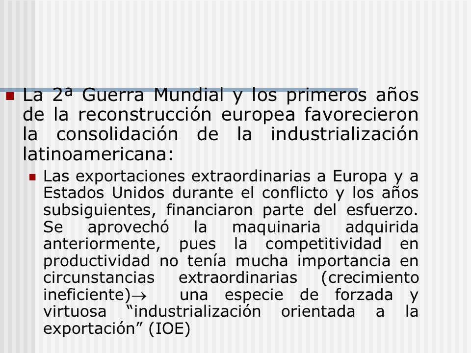 La 2ª Guerra Mundial y los primeros años de la reconstrucción europea favorecieron la consolidación de la industrialización latinoamericana: Las expor