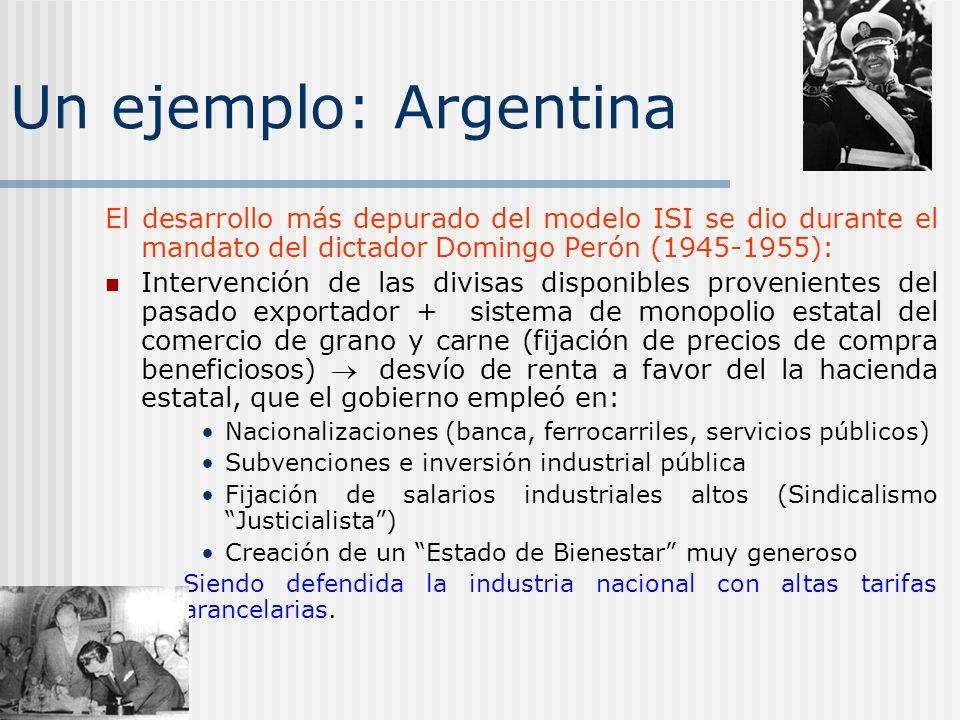 Un ejemplo: Argentina El desarrollo más depurado del modelo ISI se dio durante el mandato del dictador Domingo Perón (1945-1955): Intervención de las