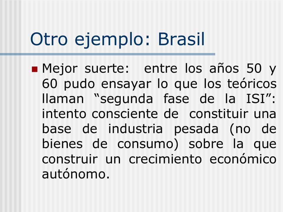 Otro ejemplo: Brasil Mejor suerte: entre los años 50 y 60 pudo ensayar lo que los teóricos llaman segunda fase de la ISI: intento consciente de consti