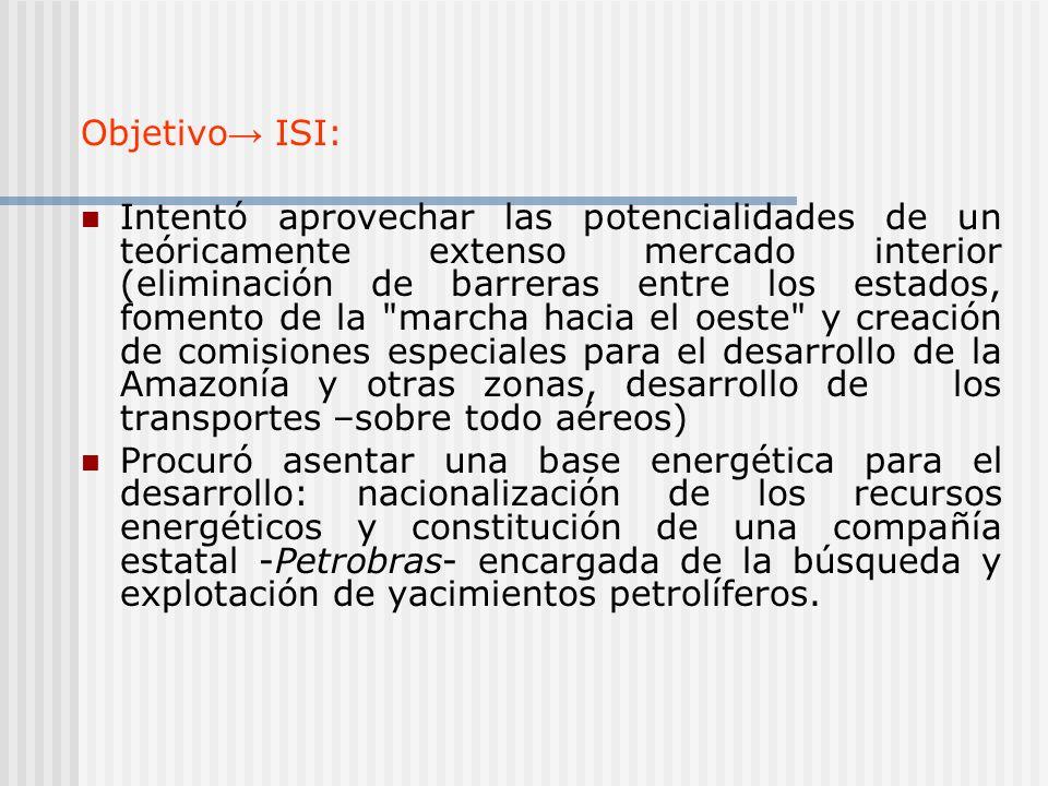 Objetivo ISI: Intentó aprovechar las potencialidades de un teóricamente extenso mercado interior (eliminación de barreras entre los estados, fomento d