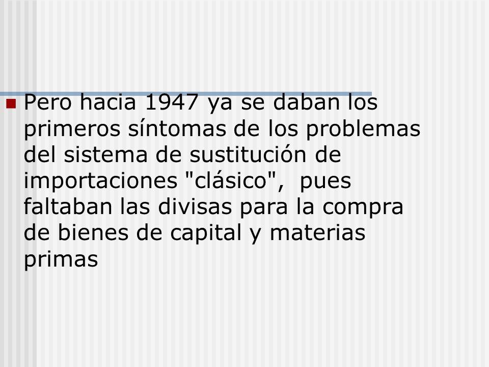 Pero hacia 1947 ya se daban los primeros síntomas de los problemas del sistema de sustitución de importaciones