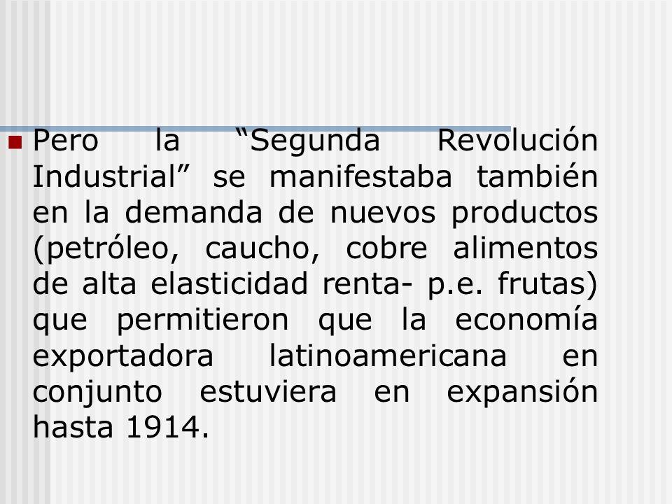 Pero la Segunda Revolución Industrial se manifestaba también en la demanda de nuevos productos (petróleo, caucho, cobre alimentos de alta elasticidad