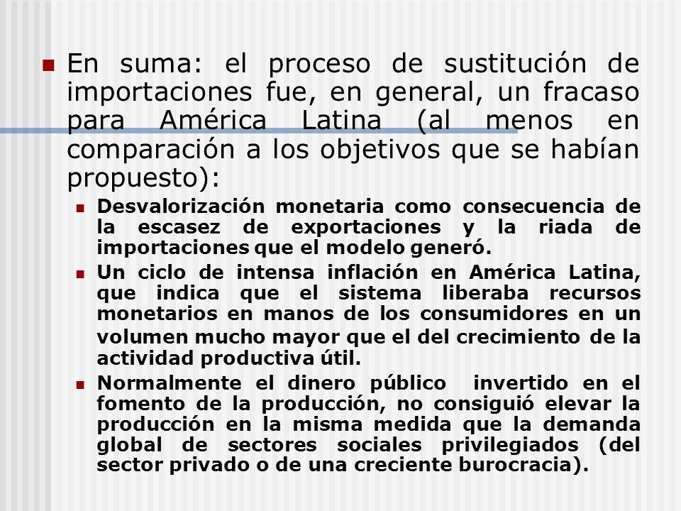 En suma: el proceso de sustitución de importaciones fue, en general, un fracaso para América Latina (al menos en comparación a los objetivos que se ha