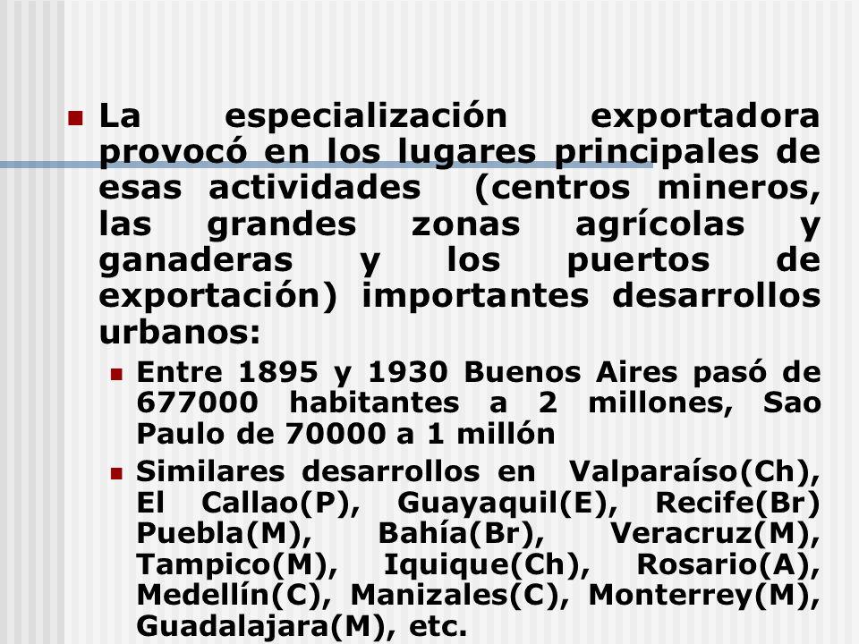 La especialización exportadora provocó en los lugares principales de esas actividades (centros mineros, las grandes zonas agrícolas y ganaderas y los
