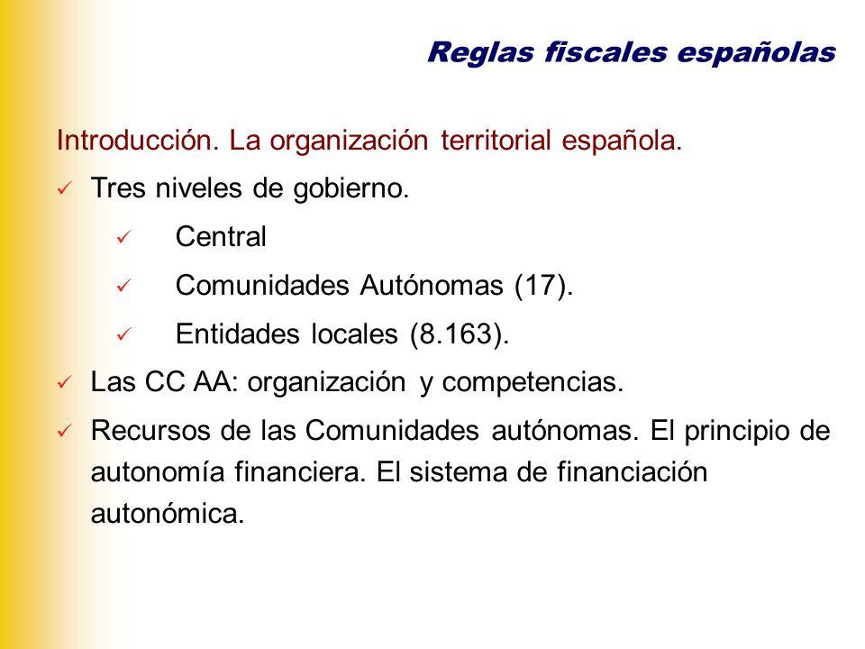 Introducción. La organización territorial española. Tres niveles de gobierno. Central Comunidades Autónomas (17). Entidades locales (8.163). Las CC AA