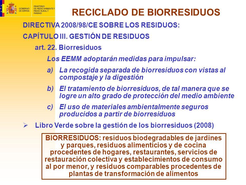 DIRECTIVA 2008/98/CE SOBRE LOS RESIDUOS: CAPÍTULO III. GESTIÓN DE RESIDUOS art. 22. Biorresiduos Los EEMM adoptarán medidas para impulsar: a)La recogi