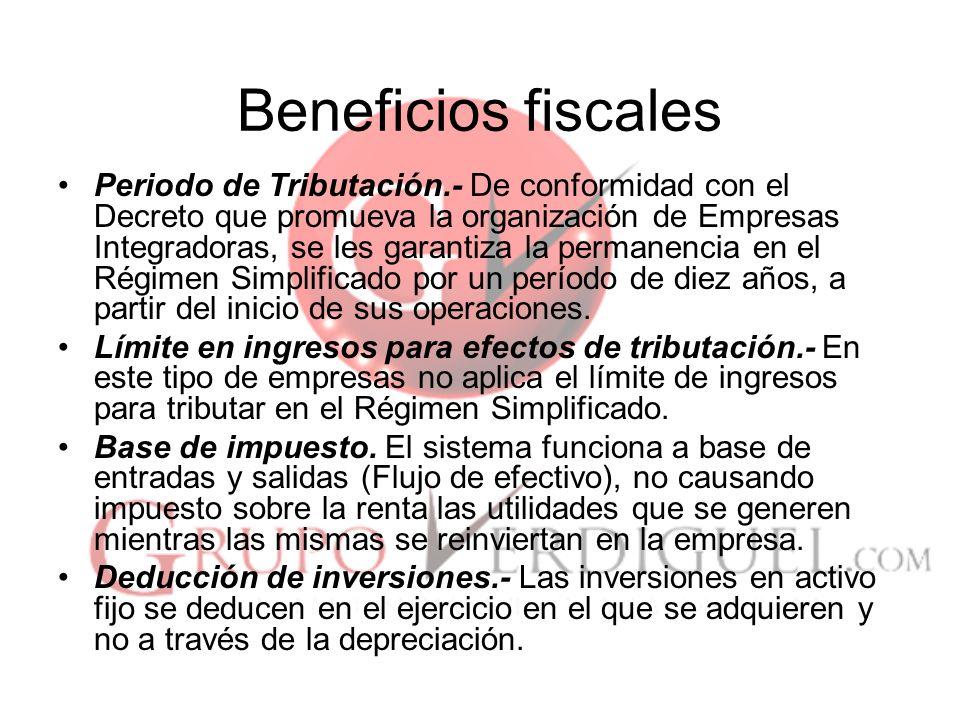 21 Beneficios fiscales Periodo de Tributación.- De conformidad con el Decreto que promueva la organización de Empresas Integradoras, se les garantiza la permanencia en el Régimen Simplificado por un período de diez años, a partir del inicio de sus operaciones.