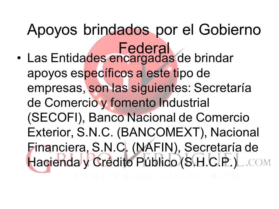 23 Apoyos brindados por el Gobierno Federal Las Entidades encargadas de brindar apoyos específicos a este tipo de empresas, son las siguientes: Secretaría de Comercio y fomento Industrial (SECOFI), Banco Nacional de Comercio Exterior, S.N.C.