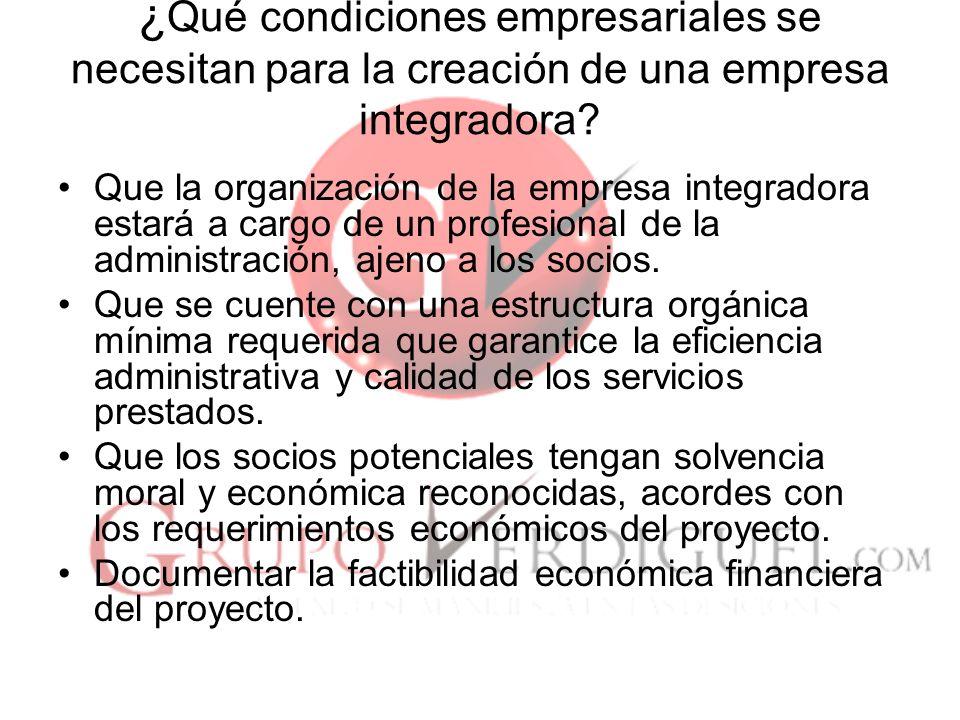 8 ¿ Qué condiciones empresariales se necesitan para la creación de una empresa integradora.