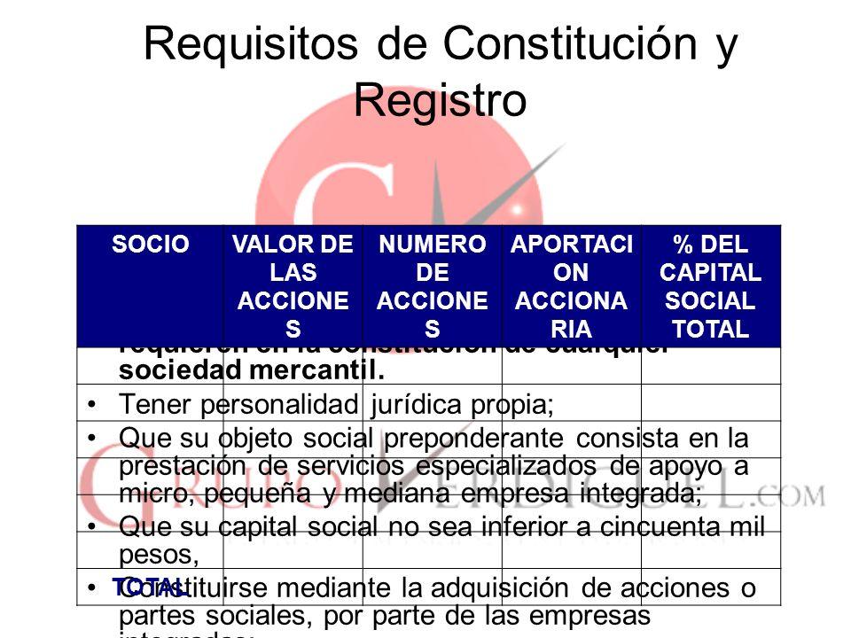 10 Requisitos de Constitución y Registro Las empresas integradas deberán ser usuarias de los servicios que preste la integradora, con independencia de que los mismos se brinden a terceras personas.